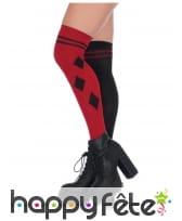 Paire de chaussettes hautes arlequin noir et rouge