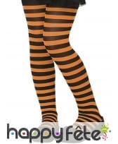 Paire de collants rayés noir et orange pour enfant