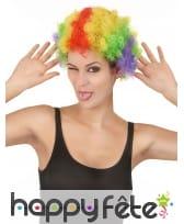 Perruque de clown afro multiclore pour adulte, image 3