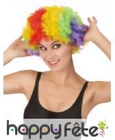 Perruque de clown afro multiclore pour adulte, image 1