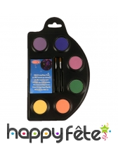 Palette de fards fluo effet UV avec accessoires