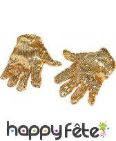 Paire de gants dorés paillettés