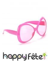 Paire de grande lunettes roses effet disco