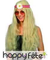 Perruque de hippie mixte blonde et marguerite