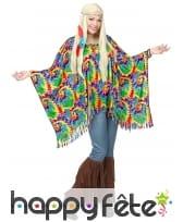 Poncho de hippie coloré pour adulte avec bandeau, image 1