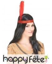 Perruque d'indien avec bandeau rouge