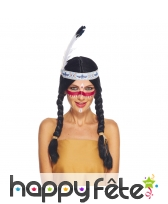 Perruque d'indienne noire avec bandeau