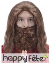 Perruque de Jésus avec barbe chatain, image 1