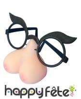 Paire de lunettes nichons humoristiques, adulte