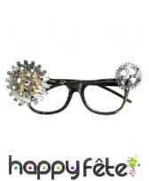 Paire de lunettes steampunk avec rouages, adulte
