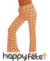 Pantalon disco psychedelique orange femme