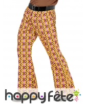 Pantalon disco psychedelique orange homme