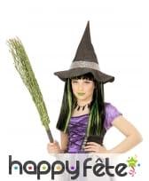 Perruque de petite sorcière noire mèches vertes, image 1