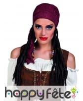 Perruque de pirate avec bandana bordeaux