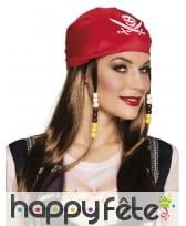 Perruque de pirate avec perles et bandana rouge