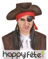 Perruque de pirate avec tricorne