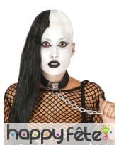 Perruque de punk rasé asymétrique cheveux noir