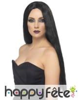 perruque de sorcière noire très longue
