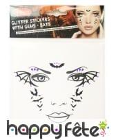 Planche de stickers vampire pour visage adulte