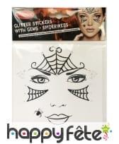 Planche de strass et stickers araignée pour visage
