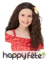 Perruque de vahiné pour enfant, avec fleur