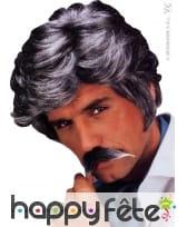 Perruque de vieux play boy avec moustaches grises