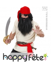 Perruque et barbe de barbe noir le pirate