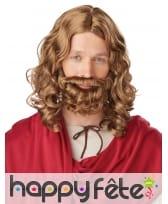 Perruque et barbe de Jésus châtain pour homme