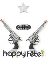 Pistolets et étoile de shérif en plastique