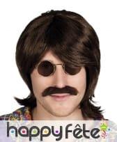 Perruque et moustache marron style années 70