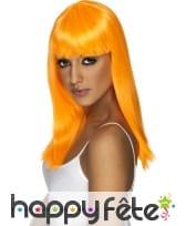 Perruque fluo orange avec frange