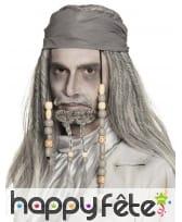 Perruque grise de pirate avec perles et bandana