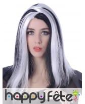 Perruque gothique noire avec mèches blanches, image 1