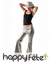 Pantalon holographique argenté pour femme