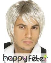 Perruque homme année 70 blond meche