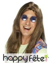 Perruque hippie brune