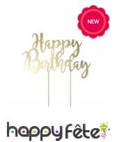 Pic Happy Birthday dorée pour gateau