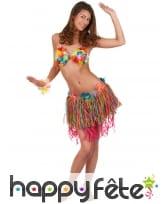Pagne Hawaïen courte multicolore et fleurs