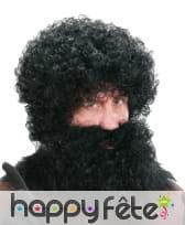 Perruque homme noire bouclée avec barbe