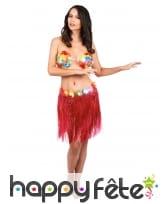 Pagne Hawaien rouge court pour femme