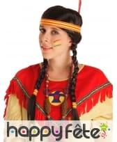Perruque Indienne avec tresses et bandeau 40cm, image 1