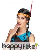 Perruque Indienne avec tresses et bandeau 40cm