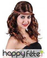 Perruque indienne brune avec bandeau