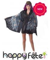 Poncho imprimé d'ailes noires pour femme