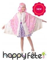 Poncho imprimé d'ailes rose pour fille