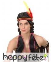 Perruque indienne noire avec bandeau et plumes
