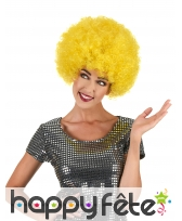 Perruque jaune afro volumineuse