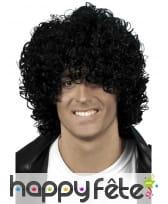 Perruque look afro mouillé, noire
