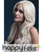 Perruque longue blonde avec mouvement
