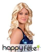 Perruque longue blonde et ondulée